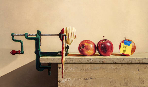 Apple Anguish | Richard Hall | apple peeler | Sticky note | humor