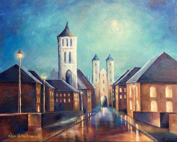 European Street Scene By Moonlight Art | Leisa Collins Art