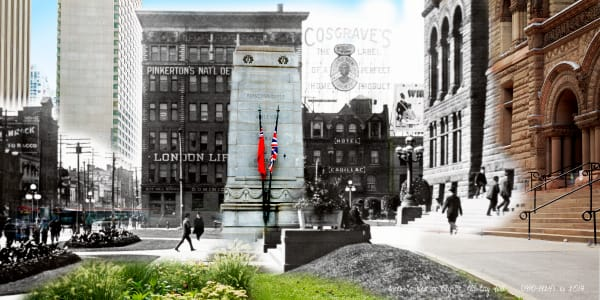 Past Present - Old City Hall with Cenotaph