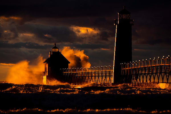 michigan storm waves lighthouse sunset