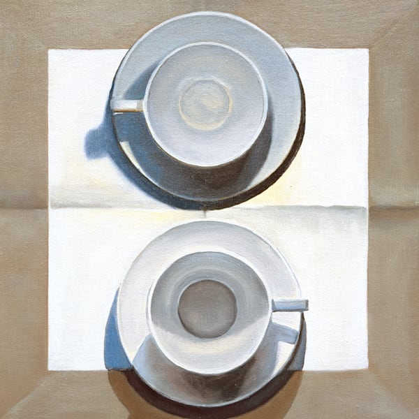 2 Large Cups On Linen Art | Courtney Miller Bellairs Artist