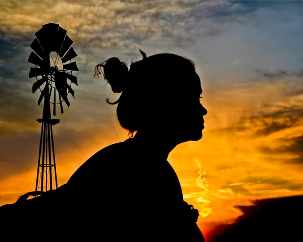 Texas Windmills Sunset Art | Jim Livingston Art