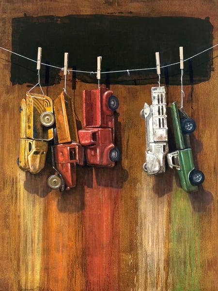Car Wash | visual pun | trucks drying on a line | Richard Hall print