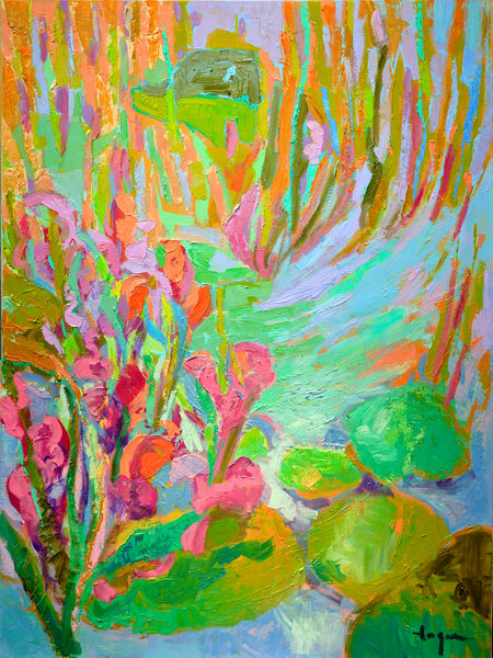 Oversize Floral Iris Painting by Dorothy Fagan