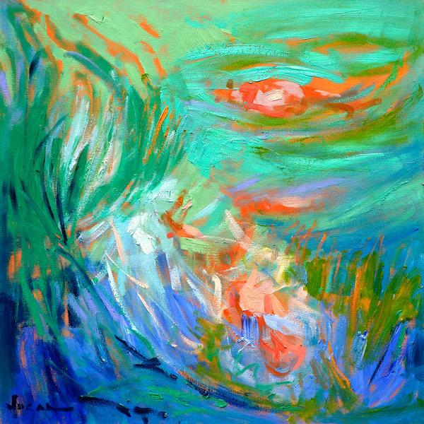 Koi Pond Painting Canvas Print by Dorothy Fagan