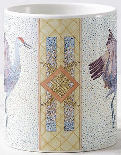 Sandhill Crane bird art by Judy Boyd Watercolors on 11 oz. ceramic mug.