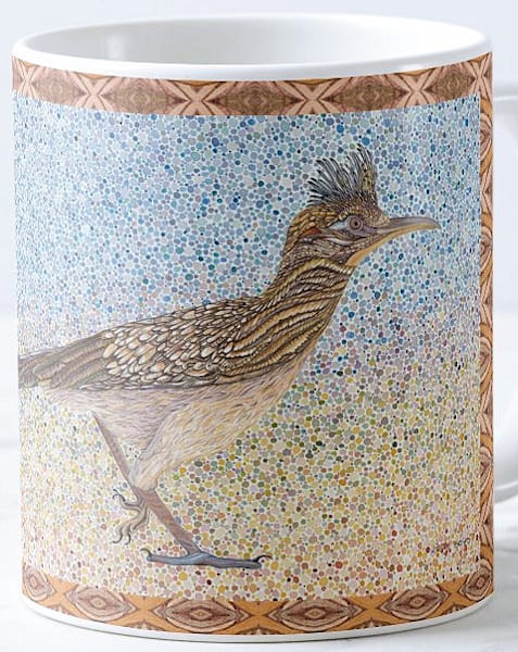 Greater Roadrunner bird art by Judy Boyd Watercolors on 11 oz. ceramic mug.