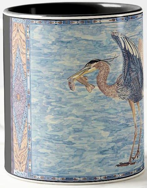 Great Blue Heron art by Judy Boyd Watercolors on 11.oz ceramic mug