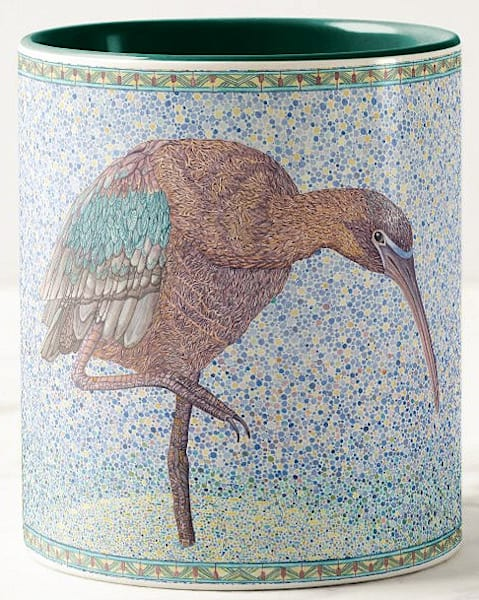 Unique Glossy Ibis bird art by Judy Boyd Watercolors on 11 oz. ceramic mug.
