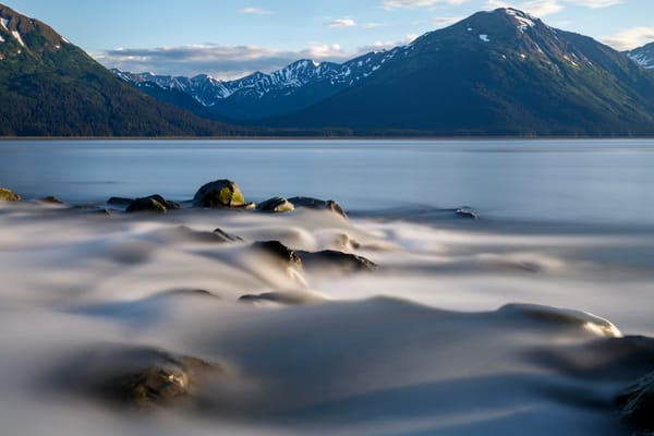 Summer landscape of creek flowing into Turnagain Arm with Kenai Mountains in background   Summer  Southcentral, Alaska 2016  Photo by Jeff Schultz/SchultzPhoto.com  (C) 2016  ALL RIGHTS RESVERVED