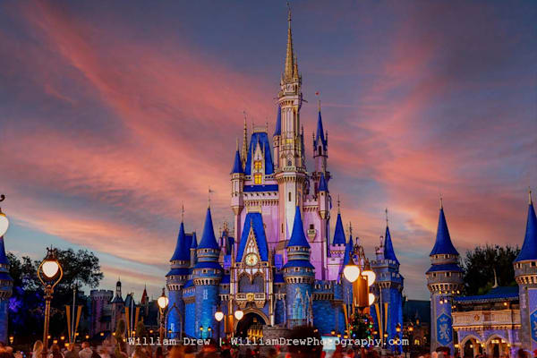 Cinderella Castle Under A Pink Sky   Disney Wall Mural Photography Art | William Drew Photography