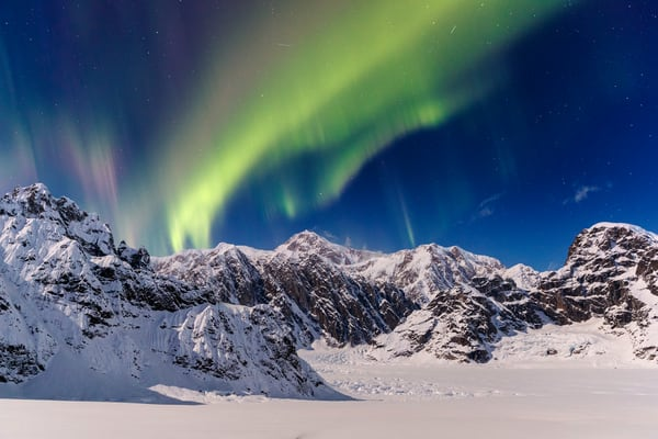 Aurora (northern lights) over Denali and the Alaska range in the Sheldon-Ruth Glacier and Amphitheater in the Alaska Range.  Winter 2017  Photo by Jeff Schultz/SchultzPhoto.com  (C) 2017  ALL RIGHTS RESERVED