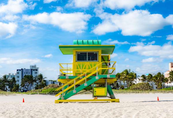 Lifeguard Tower, Green And Yellow Photography Art   Cid Roberts Photography LLC