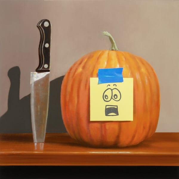 Pumpkin Panic | humorous, pumpkin carving drama | Richard Hall print