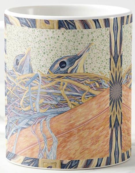 American Robin Chicks bird art by Judy Boyd Watercolors on 11 oz. ceramic mug.