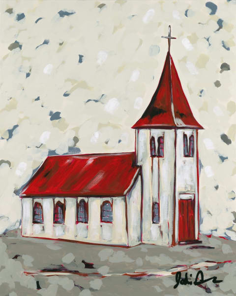Fine art print of an old church with a red roof on a neutral-colored background.