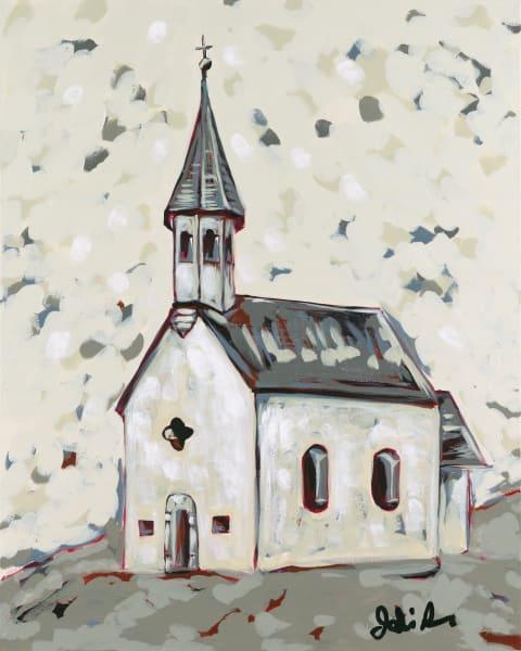 A fine art print portrait of an old church on a grassy hill.