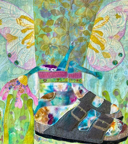 birkenstocks, socks and butterflies