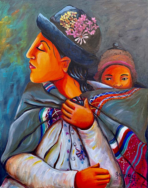 Woman And Baby Resting Art | womanoftheandes