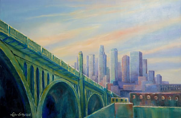 Downtown Los Angeles Cityscape At Dawn  Art   Leisa Collins Art