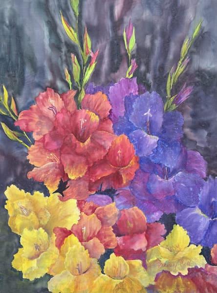 Frances Call, Gladiolas, Watercolor on Canvas