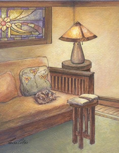 Craftsman Living Room With Cat  Art | Leisa Collins Art
