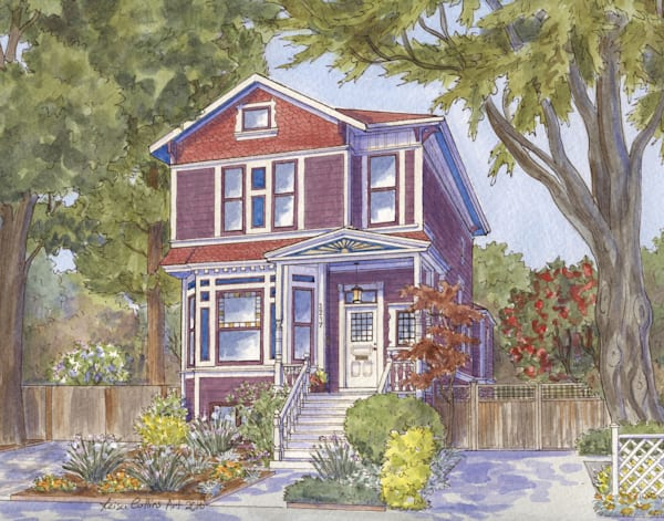 Alameda California Victorian Home Art | Leisa Collins Art