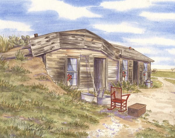 Philip South Dakota Sod Prairie Home Art | Leisa Collins Art