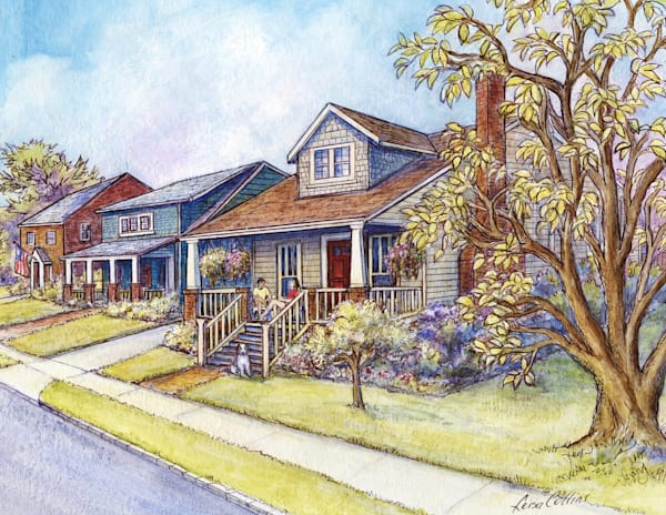 Alexandria Virginia Bungalow Porch Community Art | Leisa Collins Art