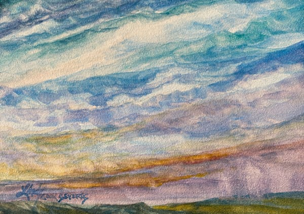 Lindy Cook Severns Art | Rainy Day in West Texas, original watercolor