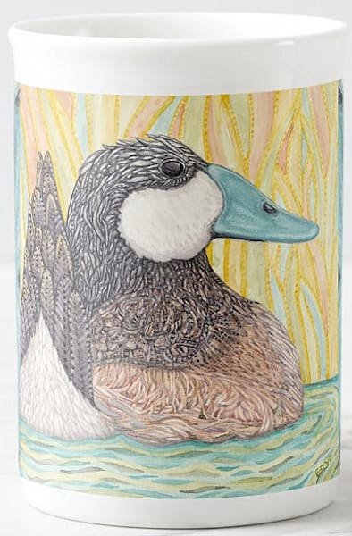 """Bone china cup with """"Ruddy Duck"""" bird art from Judy Boyd Watercolors"""