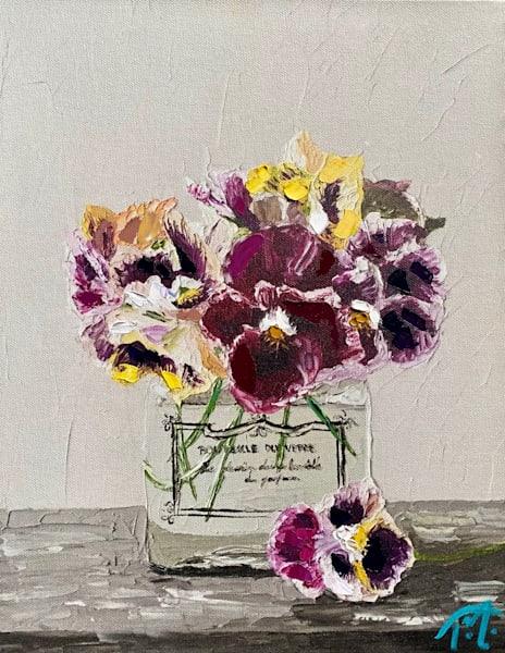 Pansies In Perfume   Oil Embellished Giclée Art   Tessa Nicole Art