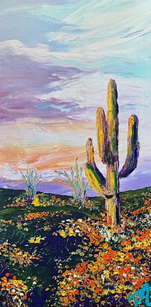 Saguaro In Solitude   Oil Embellished Giclée Art   Tessa Nicole Art