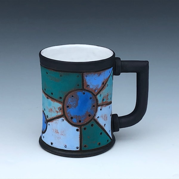 Blue Riveted Metal Mug, Black & White Glaze | Gerard Ferrari LLC