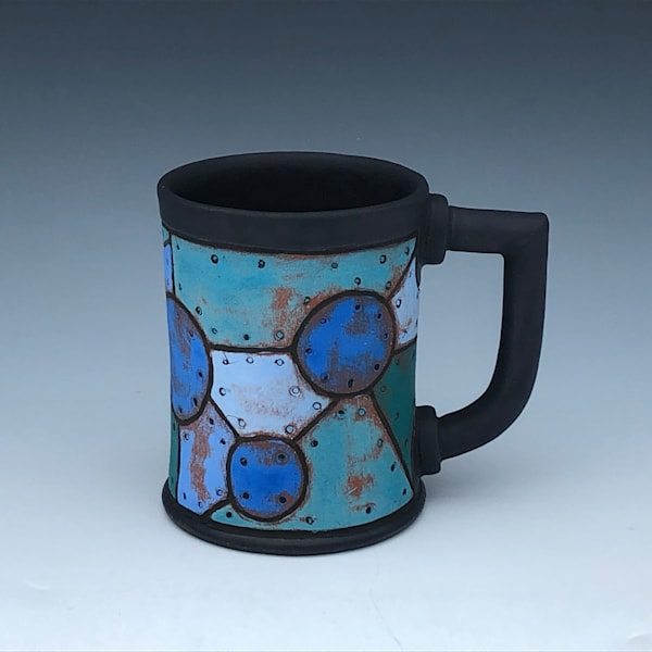 Blue Riveted Metal Mug, Black Glaze | Gerard Ferrari LLC