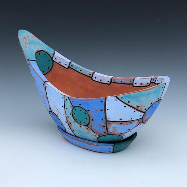 Large Blue Flower Pot | Gerard Ferrari LLC