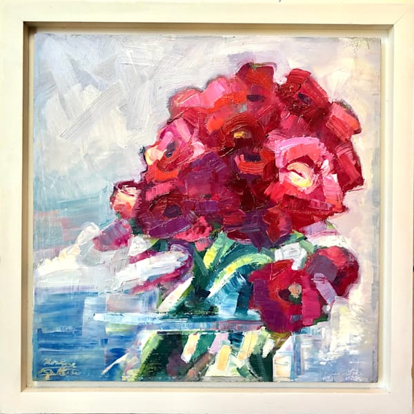 "Still life romantic floral ""Still Life with Pink and Red Ranunculus"" by Monique Sarkessian 12x12"" expressionist oil painting."