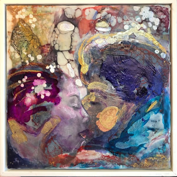 """Day 22 """"Love Conquers 23- Paris Lovers"""" encaustic wax and mixed media on panel, 6""""x6"""" by Monique Sarkessian, framed."""