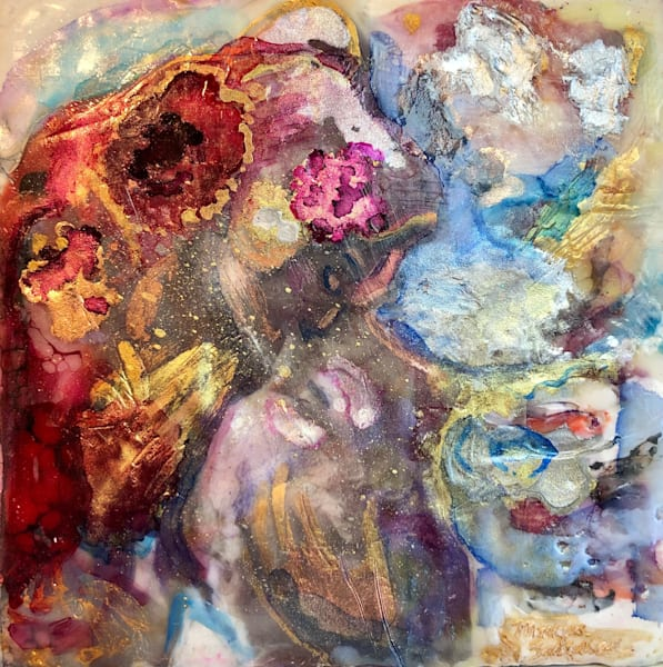 "Day 20 ""Love Conquers 20 Paris Lovers"" encaustic wax and mixed media on panel, 6""x6"" by Monique Sarkessian, framed."
