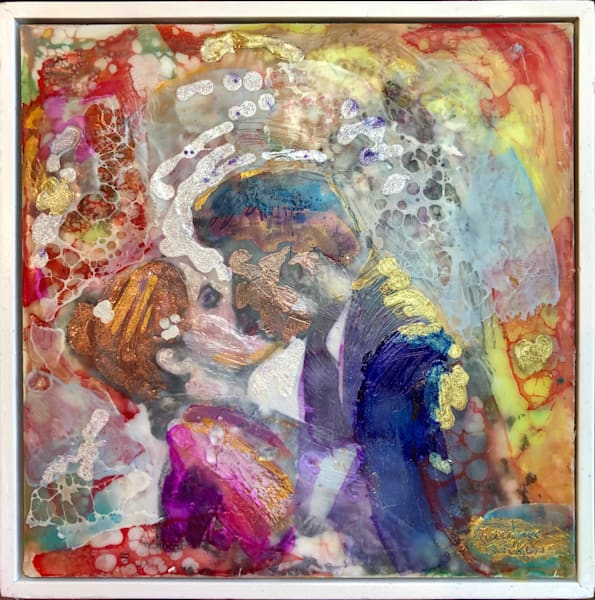 "Day 11--""Love Conquers 11-Lovers"" encaustic wax and mixed media on panel, 6""x6"" by Monique Sarkessian."