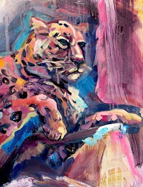 This is a colorful expressive jaguar painting by Monique Sarkessian.