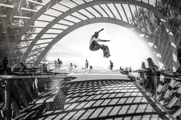 Venice Skatepark, Skateboard wall art, skateboarding, skate print, Venice Beach, Skateboard Wall Art, Skateboard print, black and white Los Angeles, California, double exposure