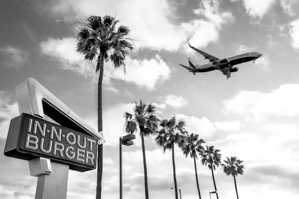 In N Out, Los Angeles, LAX, airplane, palm trees, black and white photography,  In-N-Out Burger Photo, Wall Art Print, Iconic Photography, Fine Art Print, Urban Landscape, Airplane Palm Tree