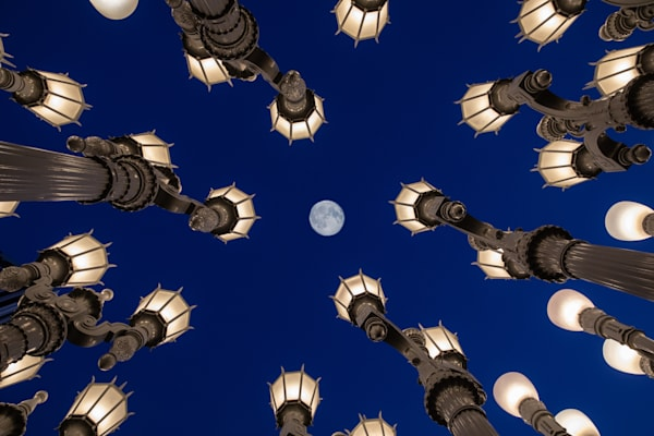 LACMA, moon, lights, full moon, perspective, Blue & White Wall Art, Los Angeles Iconic Photography, Sky, Moon, LACMA lights, LA Fine Art Print, Urban Landscape, Geometrical Architecture