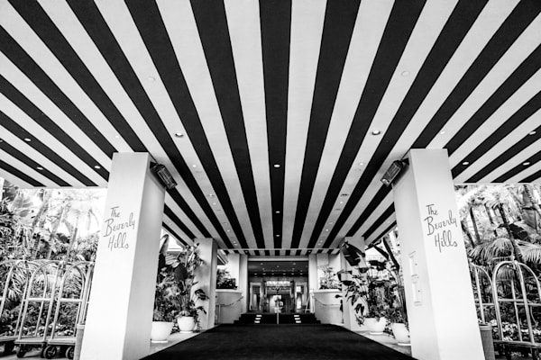 Beverly Hills hotel photo, black and white Beverly Hills print, geometric stripes wall art, Los Angeles, california, geometric city