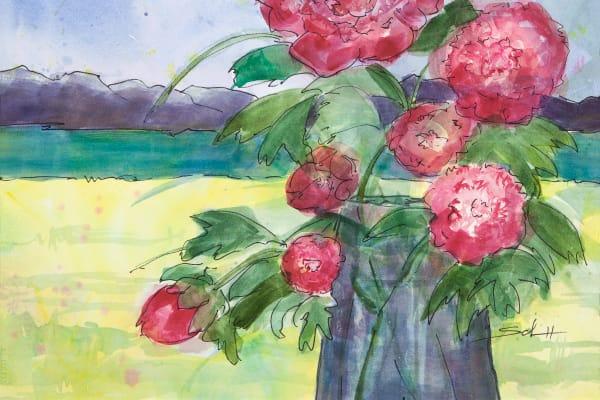 #13 A Pitcher Of Peonies Art   Elaine Schaefer Hudson Art