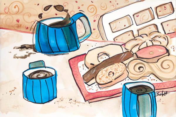 Coffee With Friends Art | Elaine Schaefer Hudson Art