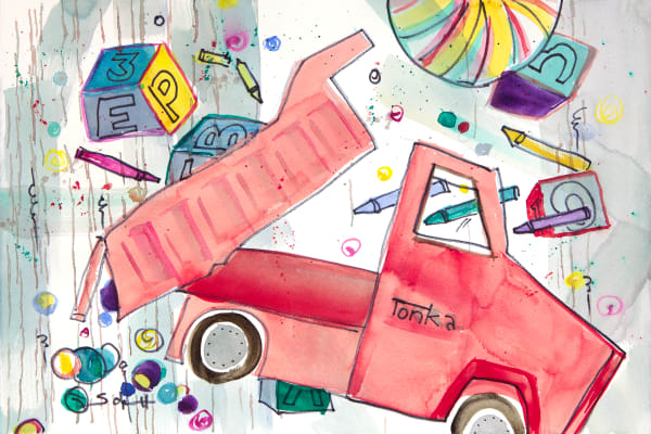 Red Tonka Truck Art | Elaine Schaefer Hudson Art