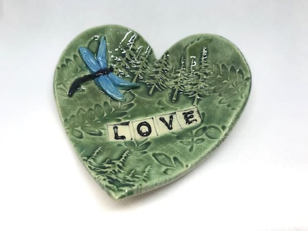 Heart Pottery Dish With Spruce Trees | http://www.mooseprintsgallery.com