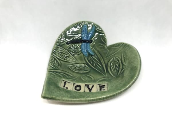 Heart Pottery Dish With Birch Leaves | http://www.mooseprintsgallery.com